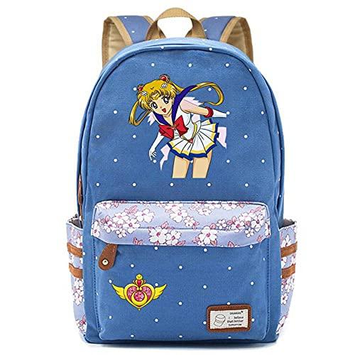 ULPUXMM Mochila de lona con dibujos animados anime Sailor Moon Student Mochila escolar para mujeres de viaje, mochila escolar para adolescentes y niñas 21 B