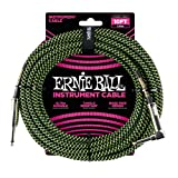 Ernie Ball Instrument Cable, 1/4' Right Angle, Neon Green/Black, 10 ft. (P06077)