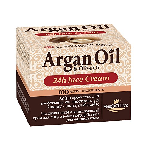 Herbolive Argan Öl-Gesichtscreme 24h Feuchtigkeit für Mischhaut, 1er Pack (1 x 50 ml)