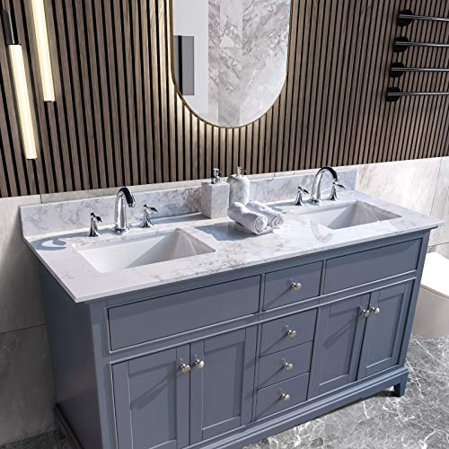UNIE 61x22 Inch Bathroom Vanity Double Sink, White Carrara Marble Countertop with Faucet Hole & Back Splash for Bathroom (Not Include the Cabinet)