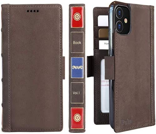 iPulse Vintage Bookl for iPhone 11 Case Full Grain Real Leather Flip Folio Wallet Case for iPhone product image