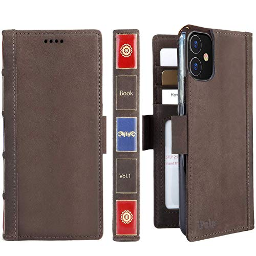 iPulse Vintage Bookl for iPhone 11 Case Full Grain Real Leather Flip Folio Wallet Case for iPhone 11 with Magnetic Closure and Kickstand - Retro Brown