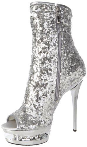Pleaser BLONDIE-R-1008, Damen Kurzschaft Stiefel, Silber (Slv Sequins/Slv Chrome), 39 EU