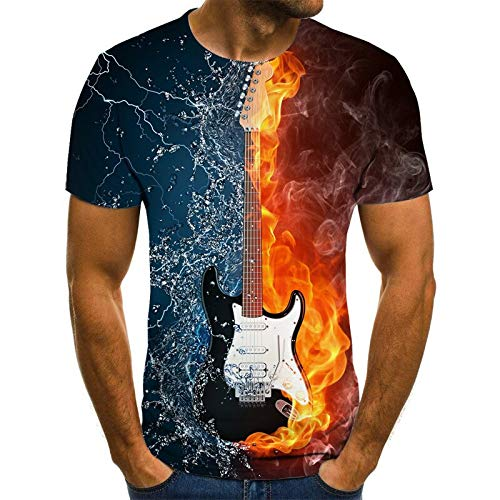 Camiseta Camiseta Hombre Música Camiseta 3D Guitarra Camiseta Camiseta Estampado Ropa Manga Corta Camiseta XXXL Txu-1636