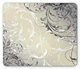 Floral Mouse Pad, Baroque Swirled Branches Curved Flower Leaves Elegance Shabby Chic Pattern Gaming Mousepad Office Mouse Mat Egg Shell Grey White