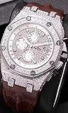 HHBB Marca de lujo Hombres Relojes Cronógrafo Zafiro Acero Inoxidable Amarillo Oro Rosa Plata Luminoso Negro Full Diamonds Aaa+ Plata Blanco