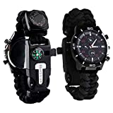 Survival Bracelet Watch, Men/Women Waterproof Emergency Survival Watch with Paracord Whistle Fire Starter Scraper Compass and Thermometer, 6 in 1 Multifunctional Outdoor Gear (Black)