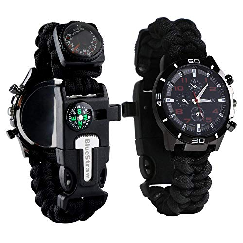 Survival Bracelet Watch, Men/Women Waterproof Emergency Survival Watch with Paracord Whistle Fire...