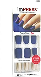 Kiss imPress Short Length Navy Blue Matte Nails 62303 Bells & Whistles by Broadway Press-On Manicure Nails