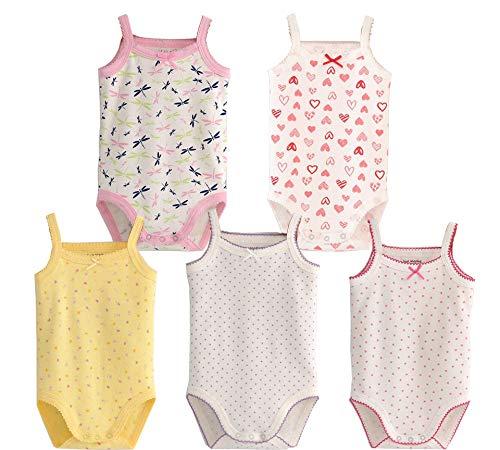 Unisex-Jumpsuit für Baby, Ärmellos, Baumwolle, Babybody, 4er Pack, Strick-Body für Kleinkinder Gr. 6-9 Monate, 5 Stück (solide)