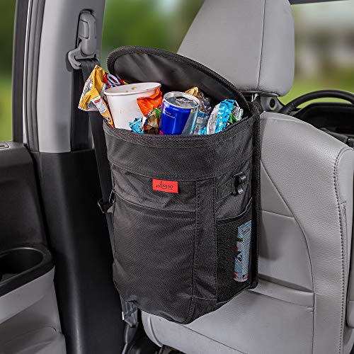 Lusso Gear Spill-Proof Car Trash Can - 2.5 Gallon Hanging Garbage Bin, Odor Blocking Technology, Removable Liner, Storage Pockets, Keeps Your Truck, Minivan & SUV Looking Sharp & Smelling Fresh