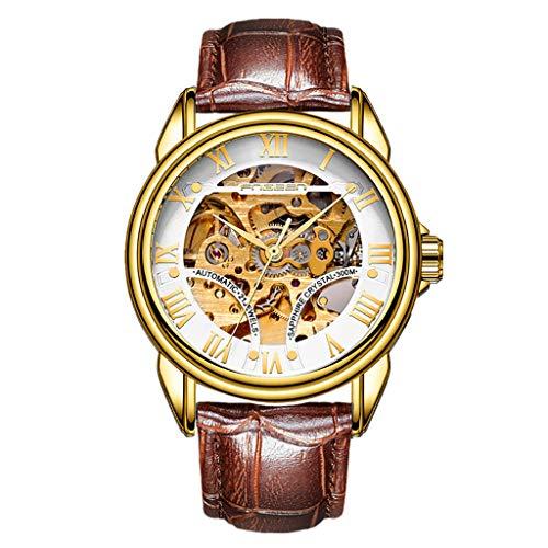 Automatische mechanische Uhren | Luotuo Mode Hohl Herren Armbanduhr | Automatische Selbstwind Analog Uhr Ø39mm Zifferblatt Lederriemen Uhrenarmbänder | Geschäft Sport Freizeit Watch Wasserdichter
