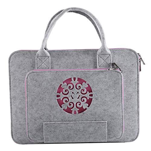 SODIAL Super Light Carved Wool Felt Laptop Bag For Dell Computer Bag Notebook Case(15.6Inch)