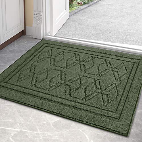 Color & Geometry Tapete para Puerta Interior 50 x 80 cm Tapete Antideslizante Dirt Trapper, tapete de Entrada Absorbente Lavable a máquina para Interior, Entrada (Verde)