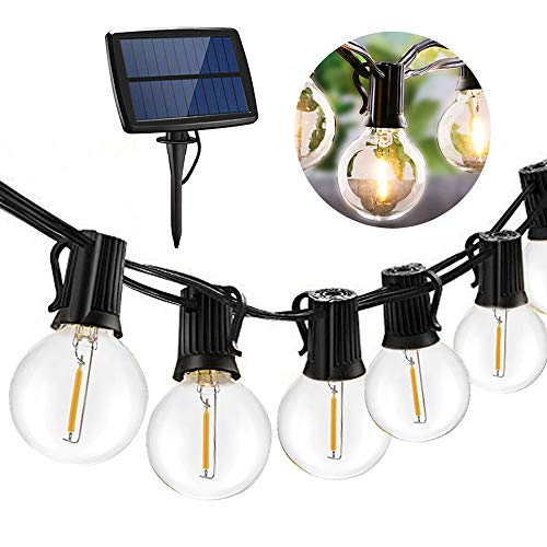 fewao Solar Powered String Lights Outdoor Waterproof,Hanging Umbrella Lights with 27 LEDs,25 Ft Bulb String Lights with 4 Lighting Modes Patio Lights for Backyard Market Cafe Gazebo Porch Party Decor