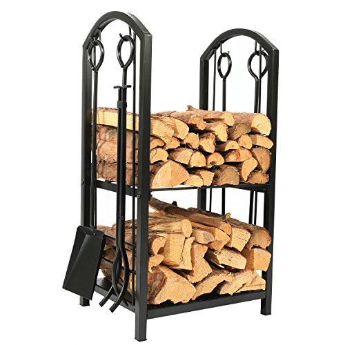 1. GO 18' Wide x 27.5' High Iron Firewood Log Rack with Fireplace Tool Set