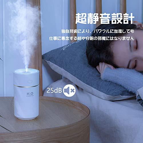 KMJ卓上加湿器USBデスク車用小型加湿機オフィス寝室超静音ナイトライトアロマ次亜塩素酸水対応大容量360ml一年保証(ホワイト)