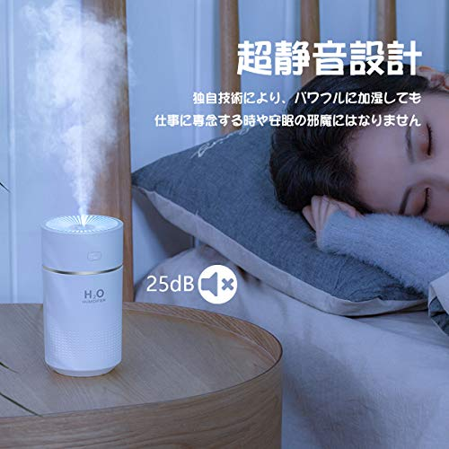 KMJ卓上加湿器USBデスク車用小型加湿機オフィス寝室超静音ナイトライトアロマ次亜塩素酸水対応大容量360ml一年保証(グレー)