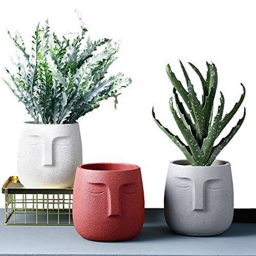 Large Concrete Head Planter Succulent Plants Pot Set of 3, Cement Face...