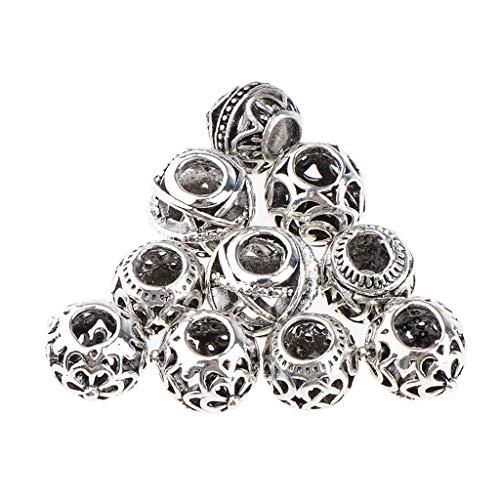 Fenteer 10 Stück Haare Rohr Perlen Dreadlocks Perlen Haarflechten Schmuck Haare Dekoration Zubehör - Silber
