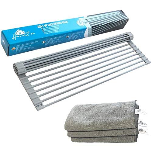 HomeZee - Escurreplatos plegable Roll-Up, rodillo multifunción para fregadero, secar platos, escurridor...