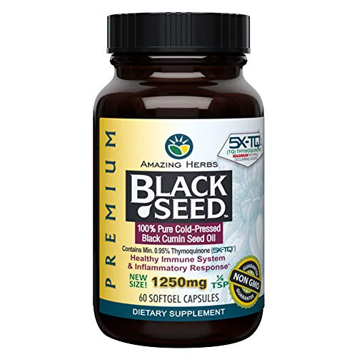 Amazing Herbs Premium Organic Black Seed Oil – Cold-Pressed Nigella Sativa and Thymoquinone, 60 capsules
