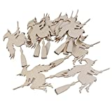 VOSAREA 10PCS Halloween Decoration Witch on The Broom Pendant with Ropes Hanging Embellishments Decotaitve Wooden Pieces Crafts Cutout Shape
