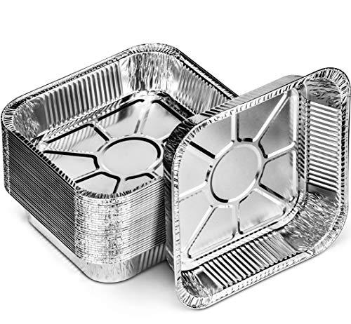 DecorRack 15 Square Aluminum Pans 8 x 8 Inch Disposable Brownie Pan Perfect for Cooking, Heating, Storing, Meal Prep, Toaster Oven Roasting Pan (15 Pack)