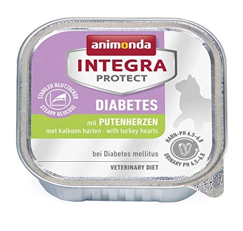 animonda Integra Protect Diabetes Katze, Diät Katzenfutter, Nassfutter bei Diabetes mellitus, mit Putenherzen, 16 x 100 g