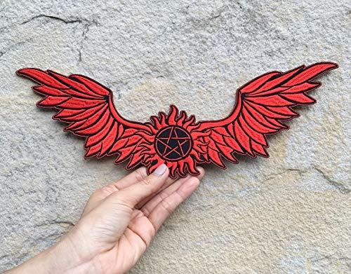 Angel Wings Embroidered Patches Iron on Sew for Backpacks, Jackets, Vests, Supernatural Anti-Possession Symbol Sigil Pentagram Biker Badge Emblem (Red)