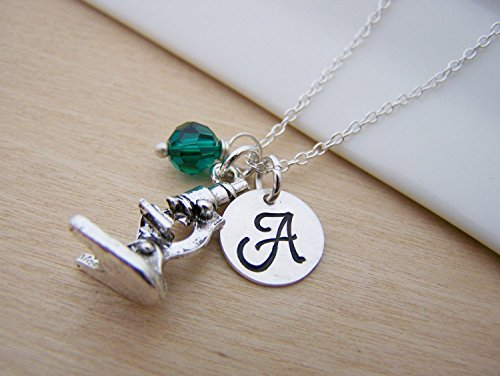 Microscope Charm Necklace - Personalized Sterling Silver Jewelry
