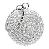 Gjyia Bolso de Noche para Mujer Bolso de Boda con Bola Redonda Bolso de Perlas Artificiales