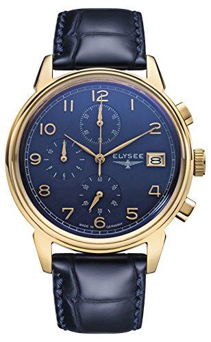 Chronograph Armbanduhr Vintage Chrono in blau/Gold von Elysee | Gehäuse aus Edelstahl | Stilvolles Armband | Herren-Armbanduhr mit Stoppfunktion und Datumsanzeige | Seiko Quarzuhrwerk