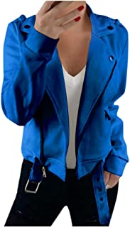 Women Jacket, QUINTRA Autumn Winter Lapel Thin Slim Jacket Slim Faux Suede Leather Moto Biker Solid Casual Turn-Down Colla...