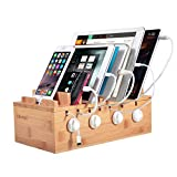 Ollieroo Bamboo Charging Station for 7 Devices, Charging Dock Stand Organizer for Cell Phone, Tablet, Cords Cable Organizer
