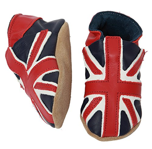 Chaussons cuir bebe enfant drapeau anglais Union Jack - made in England (Taille Xlarge / 18-24 mois = 15 cm)