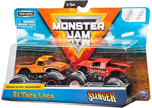 Monster Jam, Official El Toro Loco Vs. Slinger Die-Cast Monster Trucks, 1: 64 Scale, 2 Pack