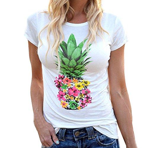 T-Shirt Damen,Mode Kurzarm T-Shirt Tops Sommer Kurze Ärmel Pullover Tops Ananas Druck Basic Kurzarm Mit Rundhals Resplend