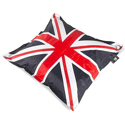 Cojín gigante bandera Inglés Confort exterior y interior grande microbille Big Bag UK 110x 110cm–coussineo (azul)