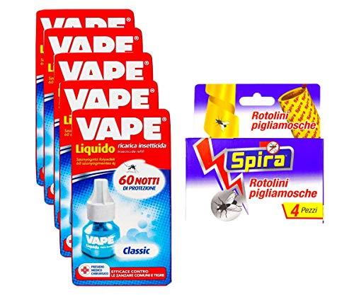 Vape- 5 Confezioni RICARICHE Liquido INSETTICIDA Classic da 36 ML + SPIRA ROTOLINI ANTIMOSCHE