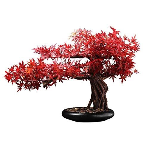 RJJX Home Las Plantas Artificiales Conveniente for el hogar Decoración de Escritorio, Hoja de Arce de la simulación Chino bonsais del Arce Rojo Artificial Verde Planta de visualización en Escritorio
