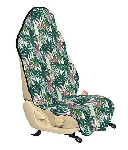 ABAKUHAUS Palmboom Beschermhoes voor autostoelen, Dreamy Jungle Gebladerte, met Antislip Achterkant, Universele Maat, 75 x 145 cm, Veelkleurig