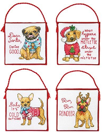 Dimensions 'Christmas Pups' Counted Cross Stitch Ornament Kit, 14 Count Ivory Aida Cloth, 4pc.