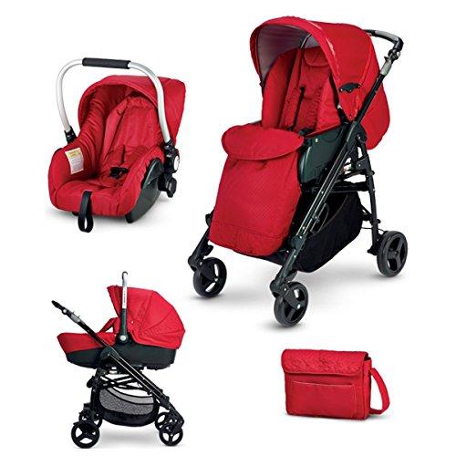 Biancheria Store Trio Sistema Combinato con Passeggino, Navicella, Seggiolino Auto e Borsa, Colore Rosso -