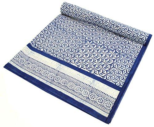 GURU SHOP Blockdruck Tagesdecke, Bett und Sofaüberwurf, Handgearbeiteter Wandbehang, Wandtuch - Design 11, Blau, Baumwolle, Größe: Single 150x200 cm, Tagesdecken mit Blockdruck