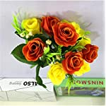 buop 6 bunches (6 branches/bunch, 10 heads/bunch) artificial roses that have color variations on the roses with a good balance of greenery, christmas tree decoration