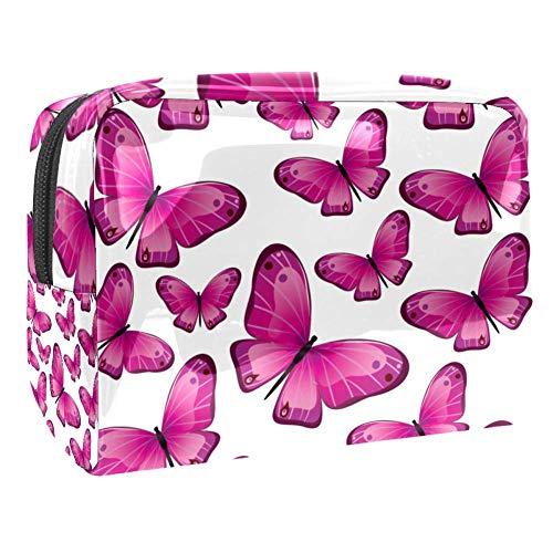 TIZORAX Trousse de maquillage en PVC Rose Papillon Rose Trousse de toilette de voyage Organisateur pour femme