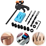 wenture 15 PCS Pocket Hole Jig,15 Degree Dowel Drill Joinery Kit, 6/8/10mm Drive Adapter for Woodworking Angle Drilling Holes Industrial Outdoor Carpenter (Large)