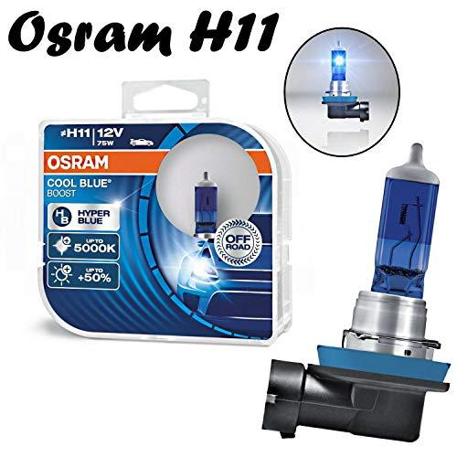 2x Osram H11 75W 12V Cool Blue Boost Hyper Blue 5000K 62211CBB-HCB Super Weiß Xenon Effekt Ersatz Scheinwerfer Halogen Auto Lampe - Off-Road