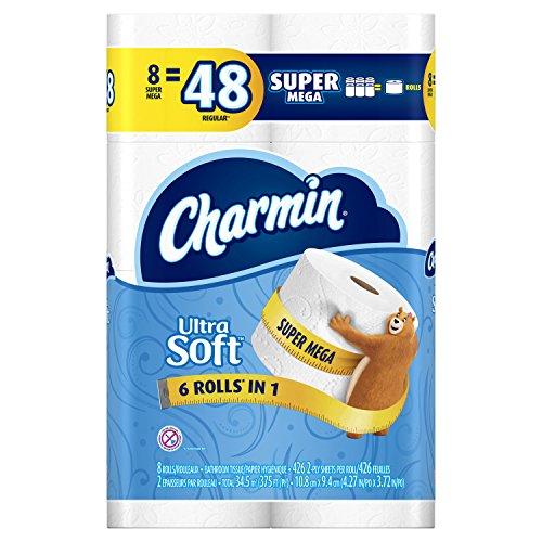 Charmin Ultra Soft Toilet Paper - 8 Super Mega Rolls